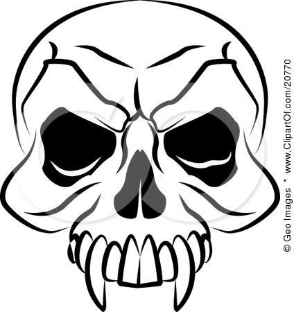 Vampires Skull With Fanged Teeth And Deep Eye Sockets