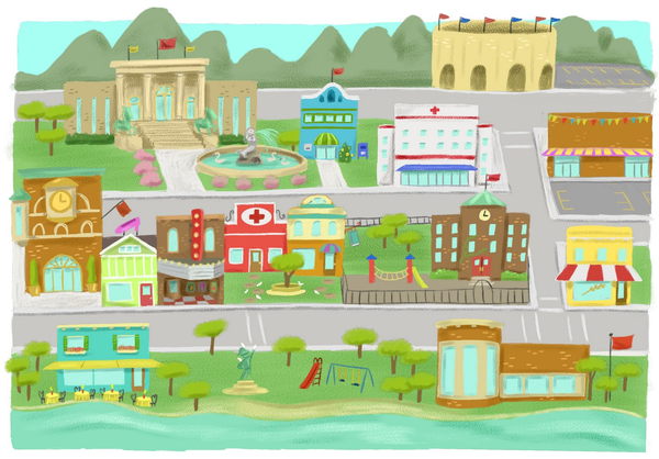 Minimalist Classroom Game ~ Town village free images at clker vector clip art