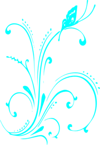 Teal Butterfly And Scrolls Clip Art