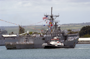 The Guided Missile Frigate Uss Reuben James (ffg 57) Returns To Her Homeport Pearl Harbor After A Deployment With The Uss Abraham Lincoln (cvn 72) Strike Force Spanning Nearly 10 Months Image