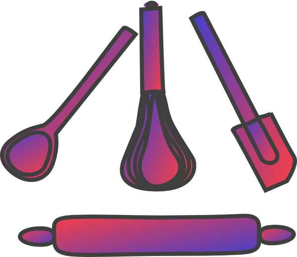 Bakery Utensils Gradient Red Blue Clip Art At Clker Com