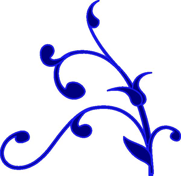 Blue Outline Flower Vine Clip Art at Clker.com - vector ...