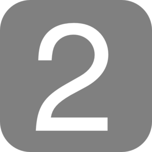 Gray, Rounded, Square With Number 2 Clip Art