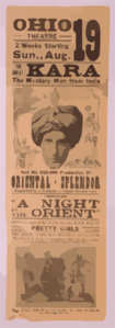 The Great Kara, The Mystery Man From India And His $50,000 Production Of Oriental-splendor Supported By A Company Of Select Entertainers. Clip Art
