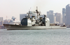 Uss Valley Forge (cg 50) Passes By The San Diego Skyline Image