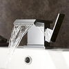 Wide Spout Contemporary Chrome Finish Waterfall Centerset Bathroom Sink Faucet--faucetsuperdeal.com Image