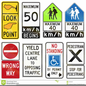 Road Traffic Signs Clipart Image