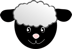 Black Happy Sheep Clip Art