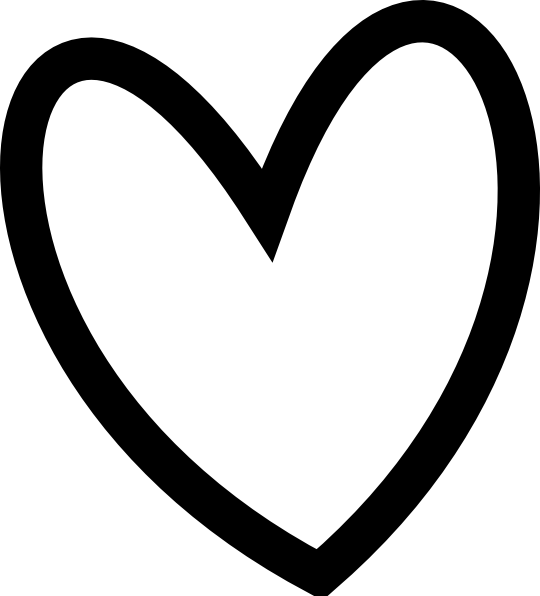 Clip Art Line Of Hearts : Slant black heart outline clip art at clker vector
