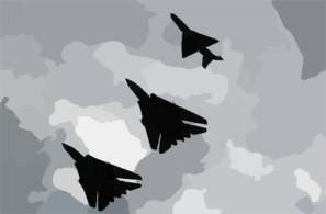F-14b  Tomcats  Assigned To The  Jolly Rogers  Of Fighter Squadron One Zero Three (vf-103) Fly In Formation With A Mig-21  Fishbed  Assigned To The Croat Air Force. Clip Art