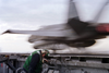 An F/a -18c  Hornet  Is Launched Off The Flight Deck Of The Uss Enterprise. Image