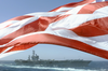 The Uss Nimitz (cvn 68) Steams Alongside The Princeton As The American Flag Waves Proudly In The Wind. Image