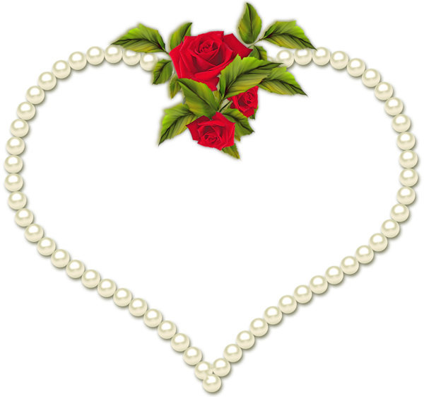 Frame Heart Pearl And A Rose Transparent
