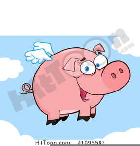 Valentine Winged Pig Clipart Image