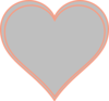 Double Outline Heart Peach With Grey Clip Art