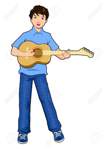 Cartoon Guitar Player Clipart Image