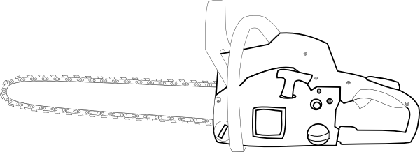 chainsaw white outlined clip art at clkercom vector