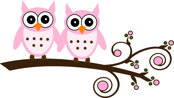 twin pink owls on branch clip art at clker com vector clip art online  royalty free   public owls clip art free owl clip art black and white