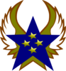 Blue Star With 4 Gold Star And Wings Clip Art