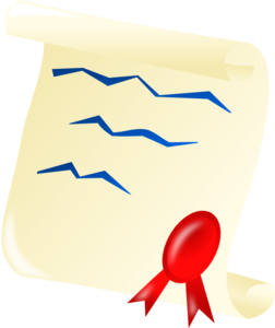 Scrolled Document With Red Ribbon Clip Art