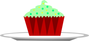 Christmas Cupcake With Sprinkles On A Plate Clip Art
