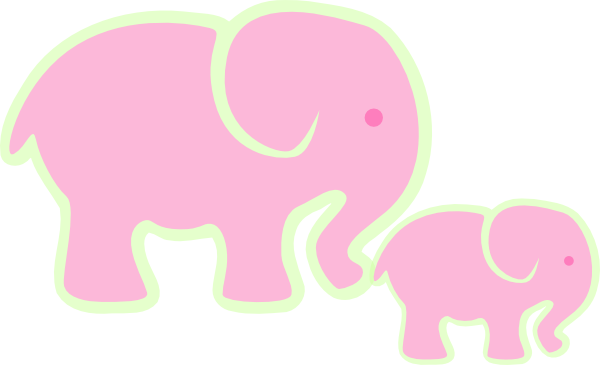 Pink Elephant And Baby Clip Art At Clker Com Vector Clip