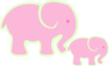 Pink Elephant And Baby Clip Art