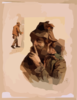 [half Length Image Of Bearded Tramp In Hat, Touching Finger To Nose With Full Length Image Of Same Tramp To The Left] Clip Art