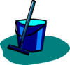 Mop And Bucket Blue Clip Art