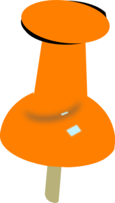 Orange Push Pin Clip Art