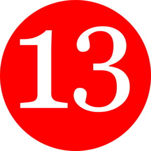 Red, Rounded,with Number 13 Clip Art