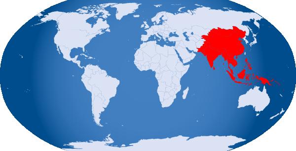 world map highlight far east asia clip art at clkercom