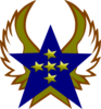 Blue Star With 5 Gold Star And Wings Clip Art
