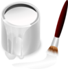 White Paint Bucket And Paint Brush Clip Art