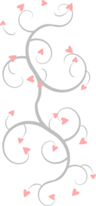 Pink And Grey Heart Scroll Clip Art