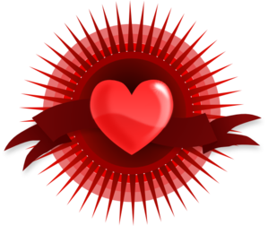 Beautiful Heart With Ribbon And Rays Clip Art