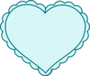 Teal Heart With Lace Outline Clip Art