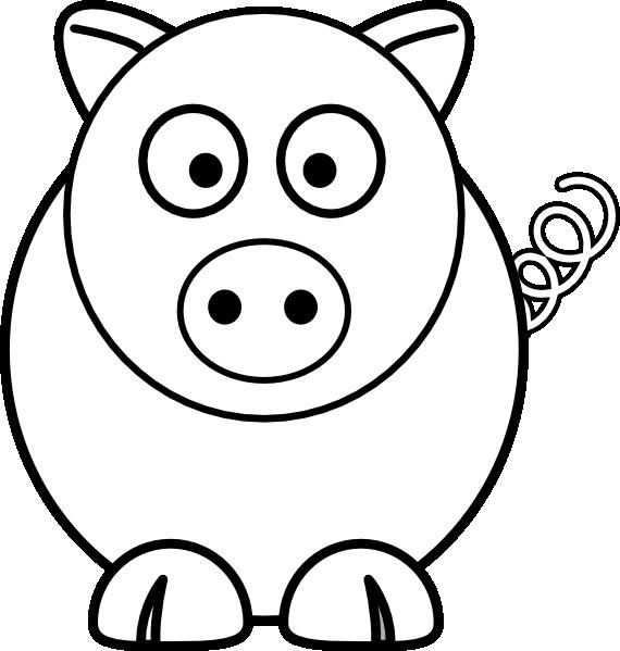 Cartoon Pig Black And White Clip Art at Clker.com - vector ...