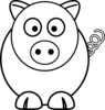 Cartoon Pig Black And White Clip Art