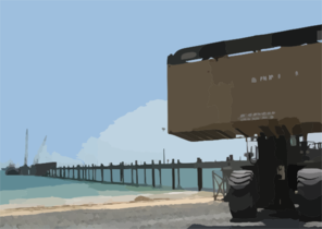 The Recently Completed 1,400-ft. Navy Elevated Causeway System-modular (elcas-m), Camp Patriot, Kuwait. Clip Art