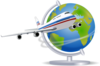 Airplane Traveling The Globe Clip Art