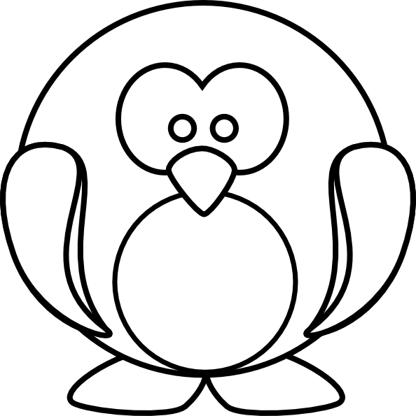 Penguin Outline Clip Art at Clker.com - vector clip art ...