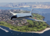 With The San Diego Skyline In The Background, A C-9b Skytrain Ii From The Conquistadors Of Fleet Logistics Squadron Fifty Seven (vr-57) Flies Over Coronado, California Clip Art