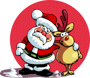Santa Clause And Ruldoph Clip Art
