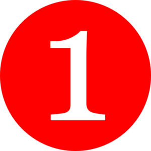 Red, Rounded,with Number 1 Clip Art