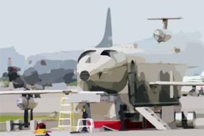A Mobile Aircraft Fire Trainer (maft) Sits On Flight Line On Board Nas Sigonella. Clip Art