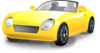 Yellow Convertible Sports Car Clip Art