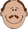 Bald Man Face With A Mustache Clip Art