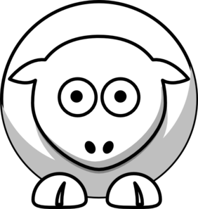 Sheep - White On Grey Clip Art