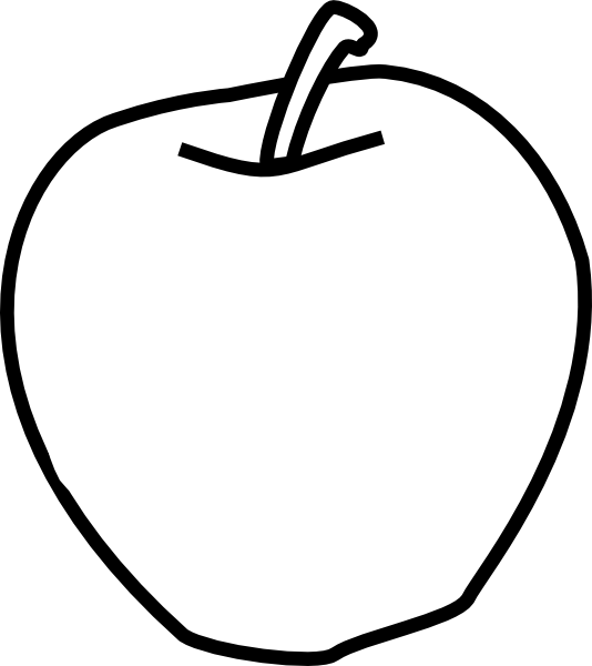 Line Art Apple : Apple black and white clip art at clker vector